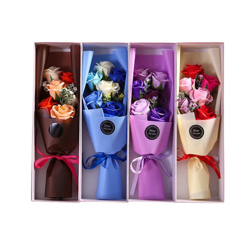 Flower Figurines Couple Gifts Rose Home-Decor Artificial Soap Bouquet