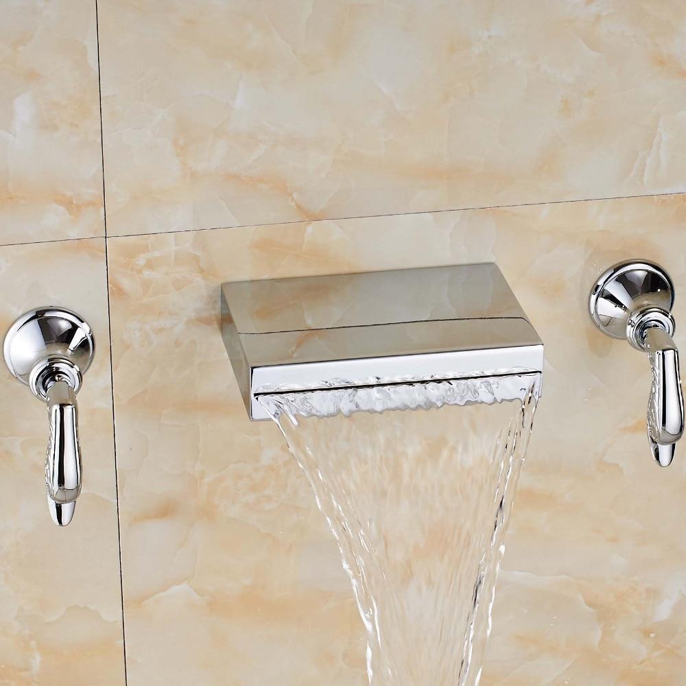 Uythner Newly Fashion Chrome Polish Bathroom Tub Faucet Dual Handles Mixer Tap Valve Wall Mounted chrome finish dual handles thermostatic valve mixer tap wall mounted shower tap