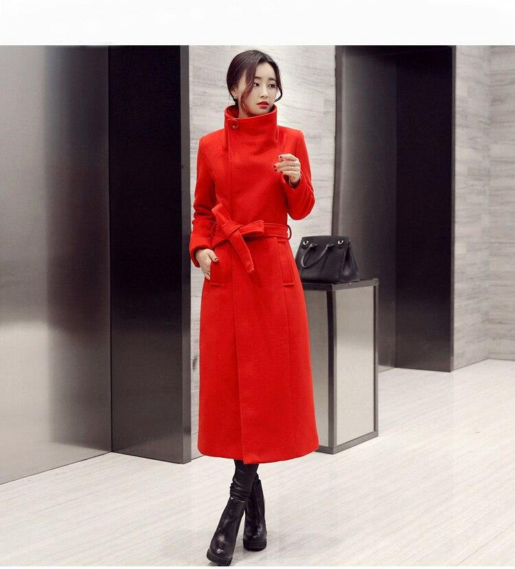 Manteau Couleur Femmes Noir Section Laine 2018 De Pure Longue Automne rouge D'hiver Nouvelles Mode Mince Et Ceinture qx0gvR