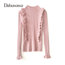 Dabuwawa Two Colors Autumn Winter Turtleneck Ruffle Women Sweaters And Pullovers Knitted Christmas Sweater