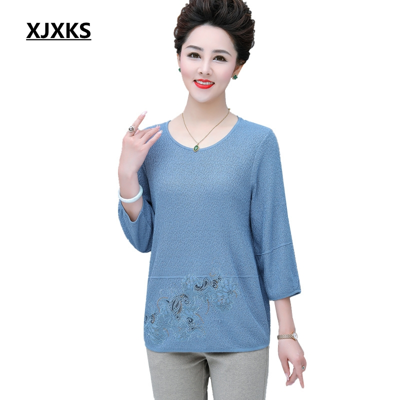 XJXKS Solid Color Loose Style Women Pullover Sweaters Plus Size 5XL Comfortable Fabrics Three Quarter Sleeve Tops-in Pullovers from Women's Clothing on AliExpress - 11.11_Double 11_Singles' Day 1