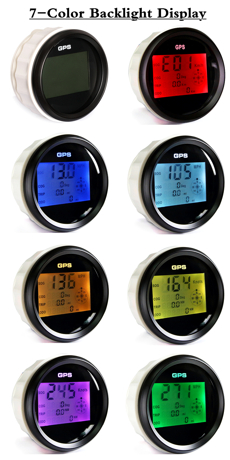 Waterproof Digital GPS Speedometer Odometer For Auto Marine Truck With 7 Color Backlight 3-3/8'' (85mm) 9-32V 6