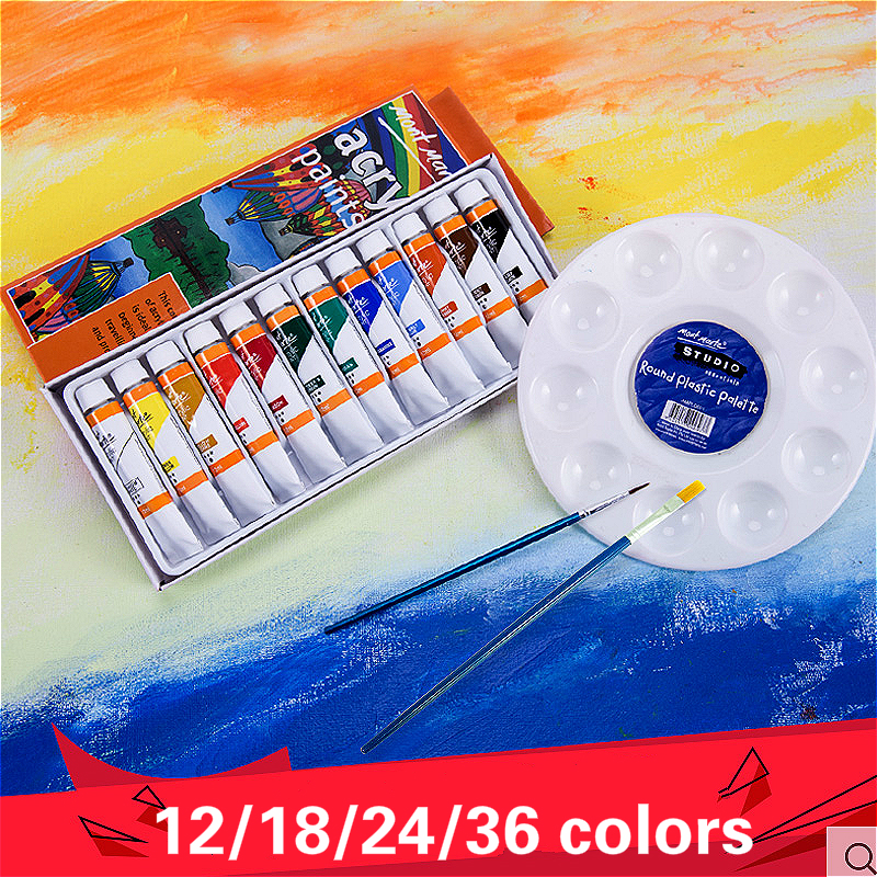 mont mart Acrylic paint12/18/24/36color wall painting hand painted textile fabric shoes diy painted acrylic painting waterproof|Paint By Number Paint Refills| |  - title=