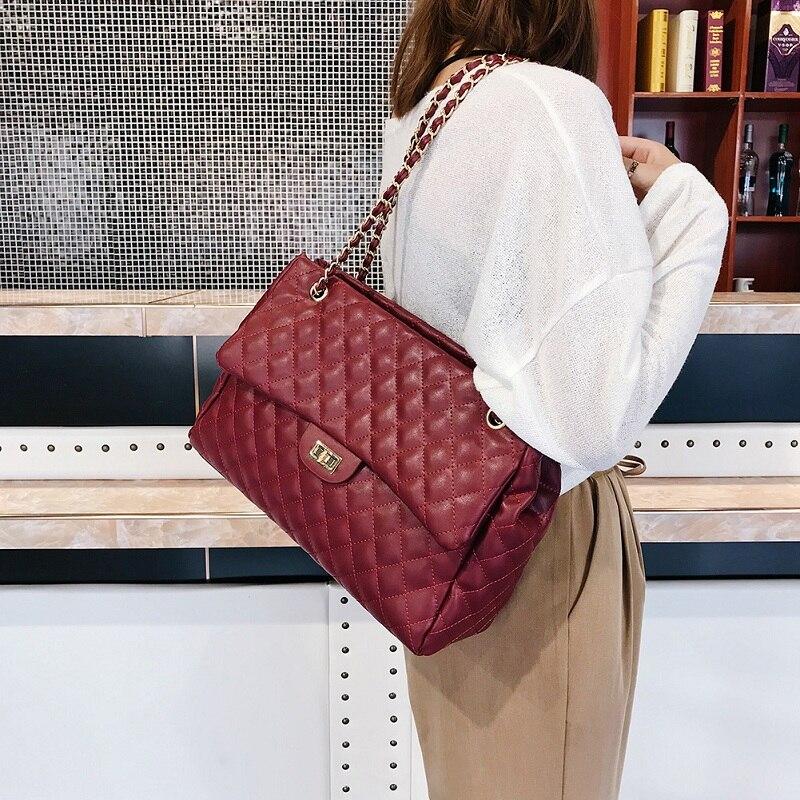 Ladies Luxury Casual PU Leather Chain Large Shoulder Bag Women Solid Color Big Lattice Messenger Handbags