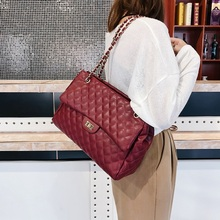 Ladies Luxury Casual PU Leather Chain Large Shoulder Bag Wom