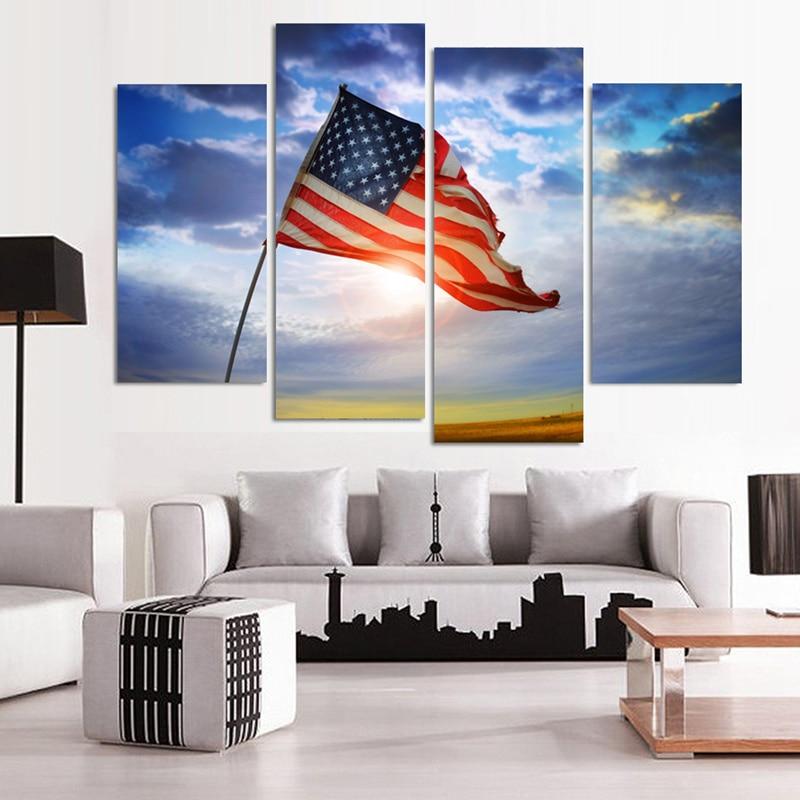 ᐊ4 Pcs Moderne Mur Toile Peinture Drapeau Américain Décor € La