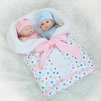 10 Inch 26cm Fashion Reborn Babies Full Vinyl Bonecas Bebe Reborn Baby Life Dolls Boy and Girl Twins Baby Gift Toys Brinquedos