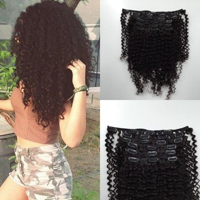 Наращивание волос 8A монгольский странный скручиваемость заколки для волос афро кудрявый вьющиеся волосы переплетения устанавливает-3b / 3C текстуры