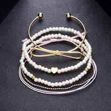 Sitaicery 4PCS/Set 2019 Bohemian Ethnic Multilayer Fashion Pearl Beads Bracelets Boho Charms Wrap Bracelet Bangles Jewelry Gifts