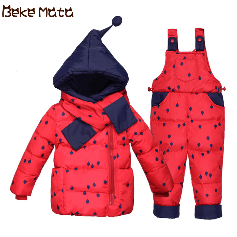 BEKE MATA Duck Down Jackets For Girls Winter 2018 Baby Overalls Warm Hooded Thick Boy Clothing Set Kids Coats Children Snowsuit buenos ninos thick winter children jackets girls boys coats hooded raccoon fur collar kids outerwear duck down padded snowsuit