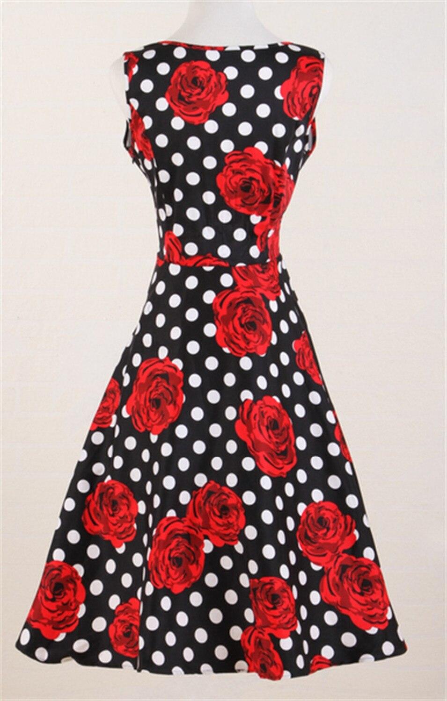 Schwarz weiß polkadot rote rosen druck kleider UK stil retro