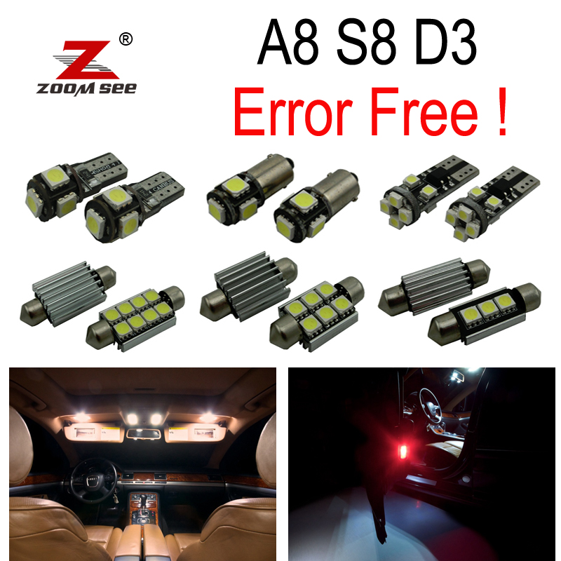 23pc x  Error Free LED bulb Interior dome Light Kit Package for Audi A8 S8 D3 Quattro (2003-2009) 18pc canbus error free reading led bulb interior dome light kit package for audi a7 s7 rs7 sportback 2012