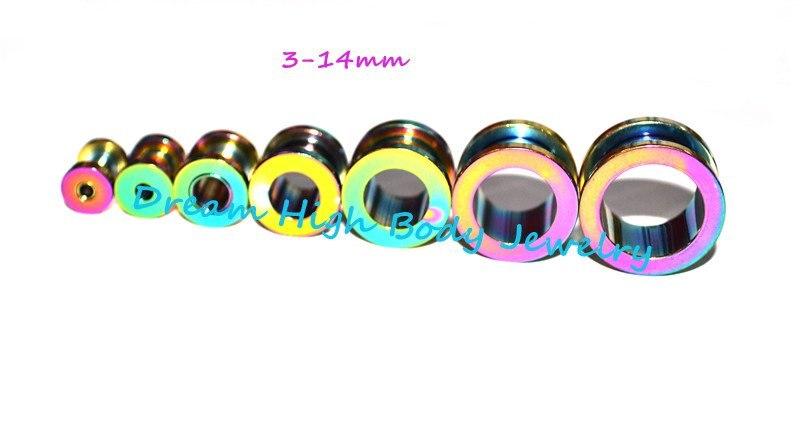 Радужный туннель ушной штекер высокого качества 316L нержавеющая сталь разноцветный пирсинг для тела ювелирные изделия Плаги для ушей 3-14 мм