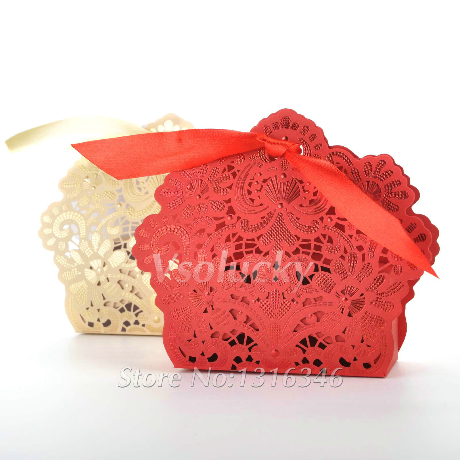 100pcs Lot Wedding Candy Box Gold Red White Laser Cut Favor Bo Casamento Favors Gifts In Gift Bags Wring Supplies From Home Garden
