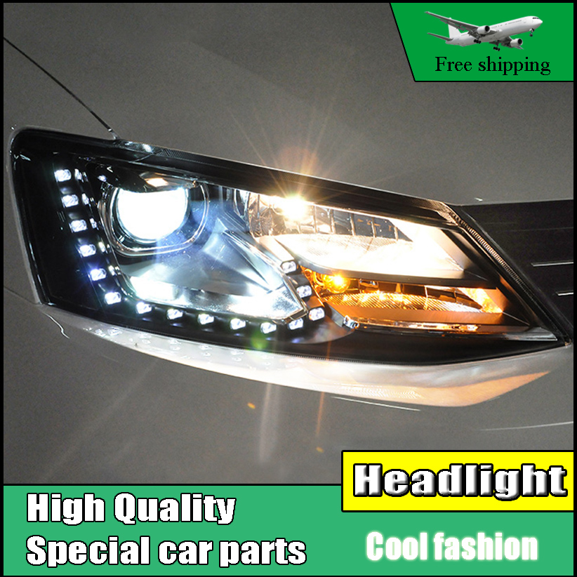 Car Styling Head Lamp case For VW Jetta MK6 2012-2016 Headlights LED Headlight DRL Daytime Running Light Bi-Xenon Lens