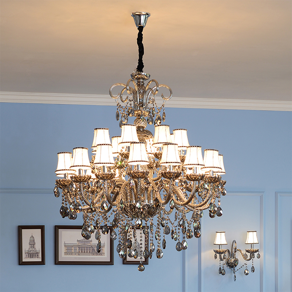 Murano Glass Chandelier Living Room Ceiling Chandelier Pendant Smoke Gray Crystal Chandelier for Stairs Hanging Lights Kitchen