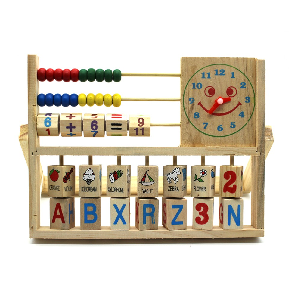 SUN & CLOUD 2017 New Multifunction Toys Baby Learning Bead Abacus Computing Frame Counting Wooden Math Toys Gifts For Kids