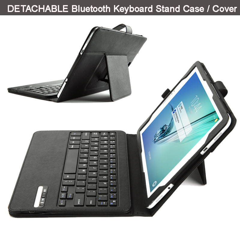 ФОТО Ultra-Thin High Quality DETACHABLE ABS Bluetooth Keyboard Stand Portfolio Leather Case/ Cover for Samsung Galaxy Tab S2 9.7 T815