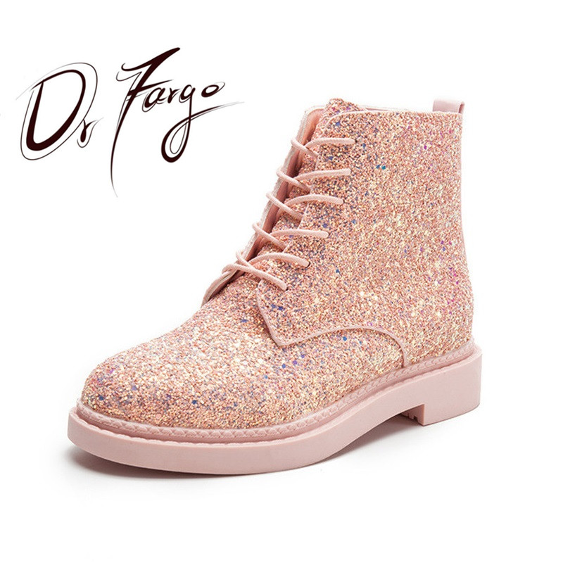 DRFARGO New Fall Fashion Shine Glitter Lace Up Martin Shoes Women's Spring Autumn Ankle Boots Lady Pink White Black 35-39 front lace up casual ankle boots autumn vintage brown new booties flat genuine leather suede shoes round toe fall female fashion