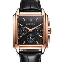 2019 mężczyźni luksusowa marka zegarki skórzany prostokąt człowiek biznesu zegarki Chronograph zegarek kwarcowy mężczyźni zegar Relogio Masculino|Zegarki kwarcowe|Zegarki -