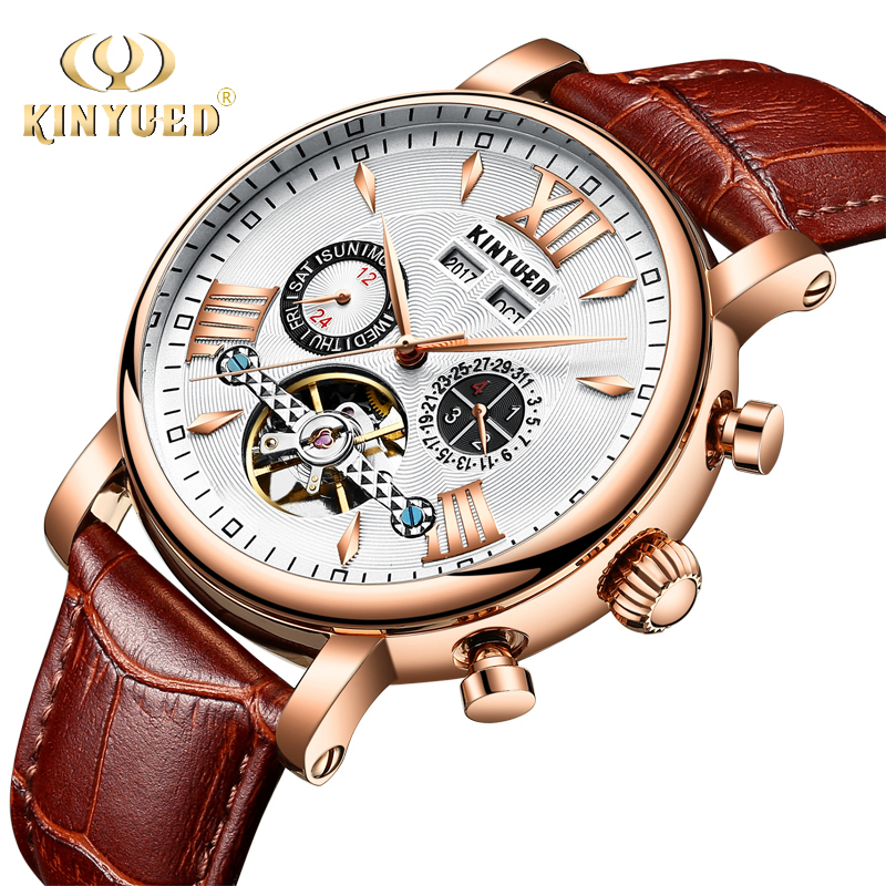 лучшая цена KINYUED Automatic Mechanical Watch Men Tourbillon Perpetual Calendar Skeleton Mens Wrist Watches Gold Business Relogio Masculino