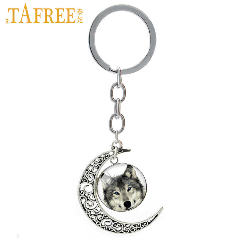 TAFREE Vintage Arctic Wolf keychain geek wild animals Dinosaur Rhino Hippo Octopus Tiger  key chain men women jewelry T655