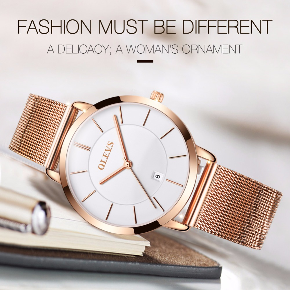 Genuine OLEVS Brand Luxury Women Watches Waterproof Business Rose Gold Stainless Steel Ladies Quartz Calendar Wrist watch Clock kimio brand rose gold luxury slim bracelet ladies casual business waterproof clock women dress stainless steel mesh quartz watch