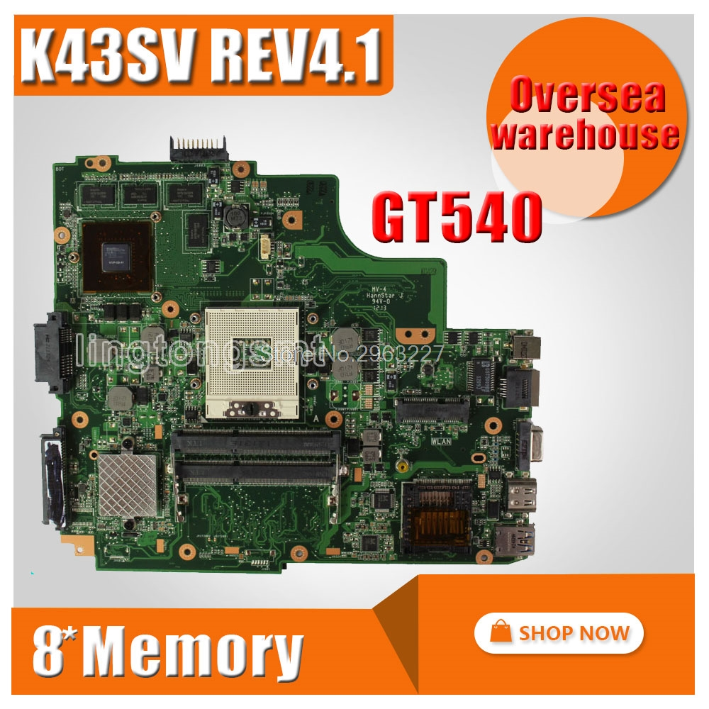 K43SV REV3.0 GT540M 1GB for ASUS A43S K43S K43SJ A84S X43S K43SM laptop motherboard HM65 mainboard 100% tested