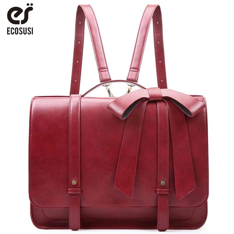 ECOSUSI New Fashion Women PU Leather Handbags Vintage Pu Leather Messenger Bags Shoulder School Laptop Messenger