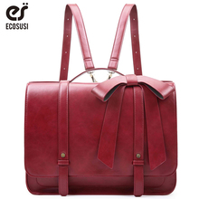 где купить ECOSUSI New Fashion Women PU Leather Handbags Vintage Pu Leather Messenger Bags Shoulder School Laptop Messenger Bags Tote Bag по лучшей цене