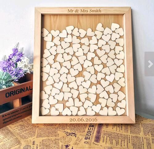 Personalised lilac wedding heart shaped guest book drop box wooden 76 hearts
