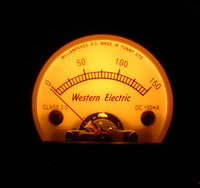 S52 Round Black Pointer Ammeter 150MA DC Yellow Classical Backlight, EL34 KT66