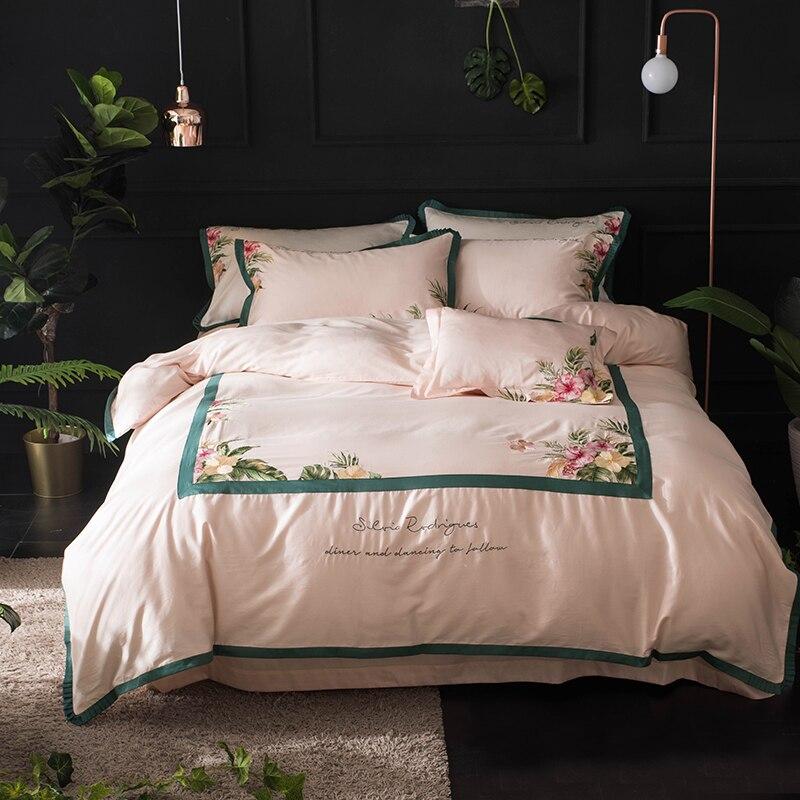 Rose blanc de luxe ensemble de literie reine roi taille couette couverture drap set coton égyptien broderie beddingsets taie d'oreiller