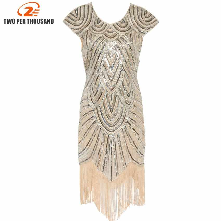a9d7a161e45a9 Women 1920s Diamond Sequined Embellished Fringed Great Gatsby Flapper Dress  Cap Sleeve Retro Midi Party Dress
