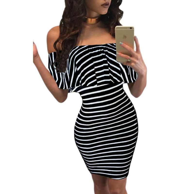 Zkess платье в полоску женское летнее облегающее платье сексуальное платье с вырезом лодочкой черное белое тонкое Повседневное платье с открытыми плечами LC22792