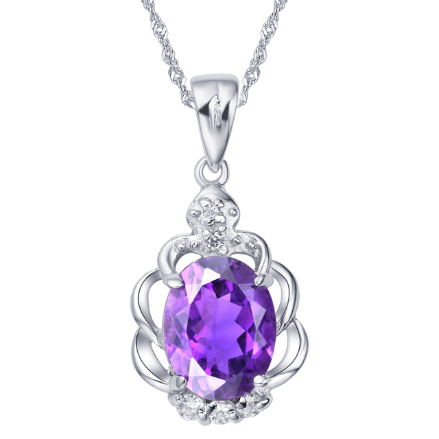Natural Amethyst Pendant 925 Sterling Silver Necklace Woman Fashion Fine Elegant Jewelry Purple Crystal Birthstone Gift SP0021A