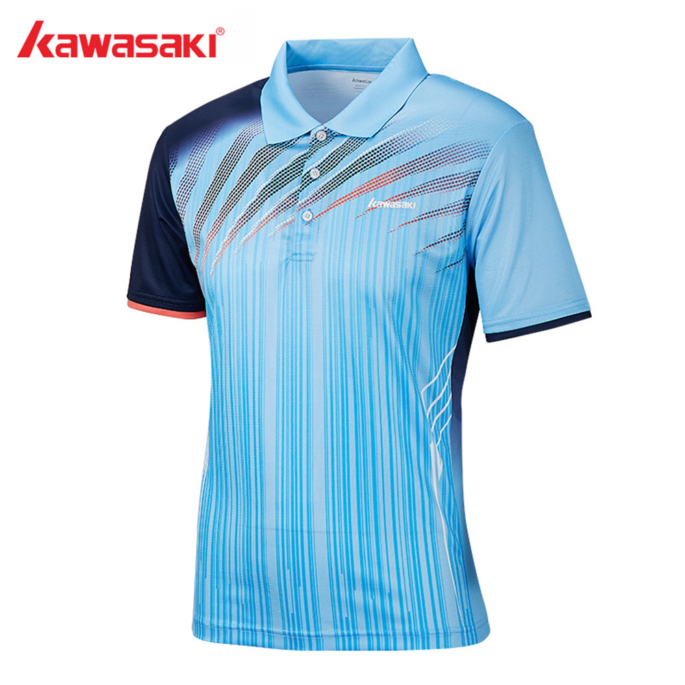 2019 Original Kawasaki  Men Polo Shirts Short Sleeve Quick Dry Polyester Men Tennis Badminton  T-Shirt Sports Clothing ST-S1101