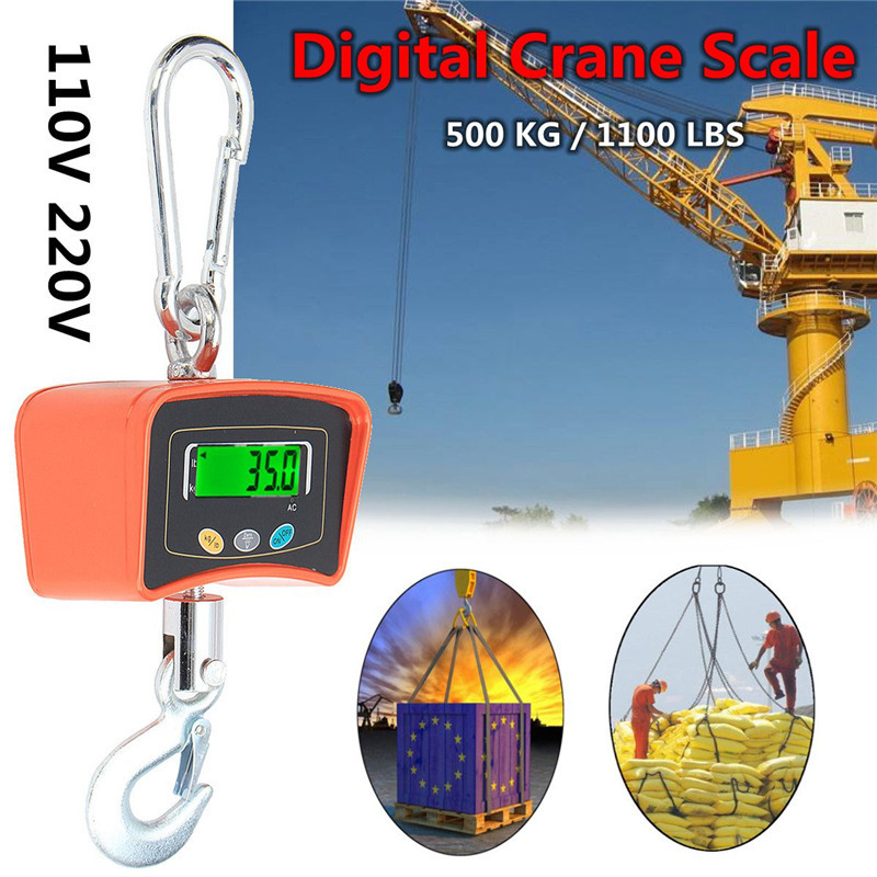 500KG/1100 LBS Digital Crane Scale 110V/220V Heavy Duty Industrial Hanging Scale Electronic Weighing Balance Tools electronic scale ves 50a precision of the cold media is called quantitative fluorine balance scale refrigeration tools 1pc