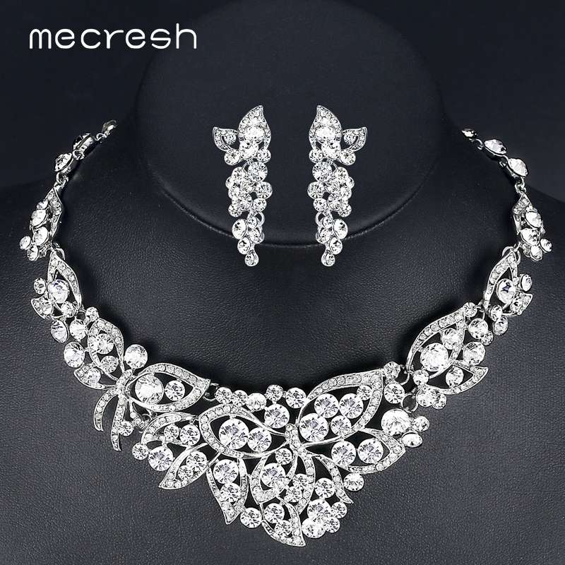 Mecresh Hot Sale Crystal Butterfly Bridal Jewelry Sets Silver Color