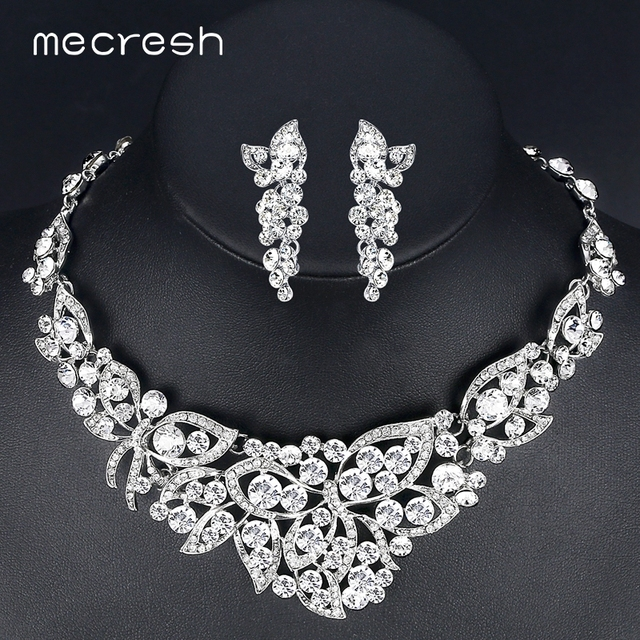Mecresh Clear Crystal Wedding Jewelry Sets for Women Elegant Butterfly Bridal Pa