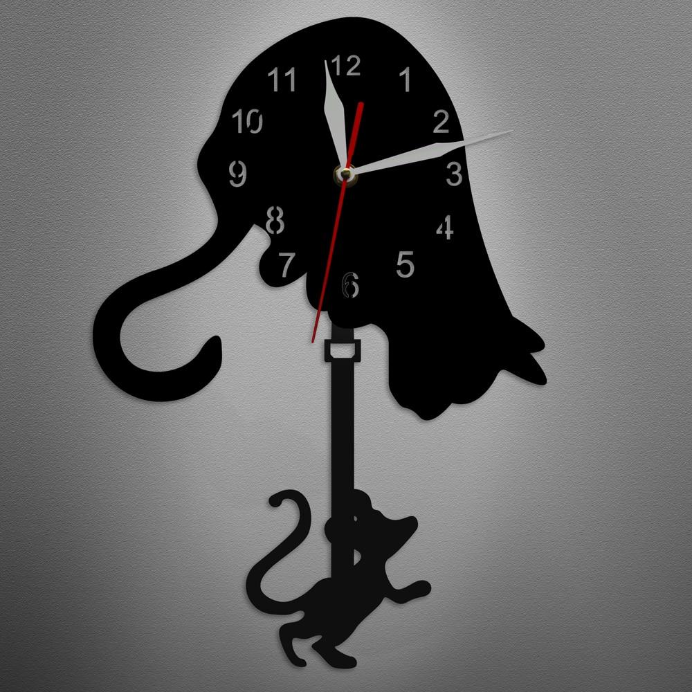 Black Cat and Mouse Swinging Pendulum Wall Clock