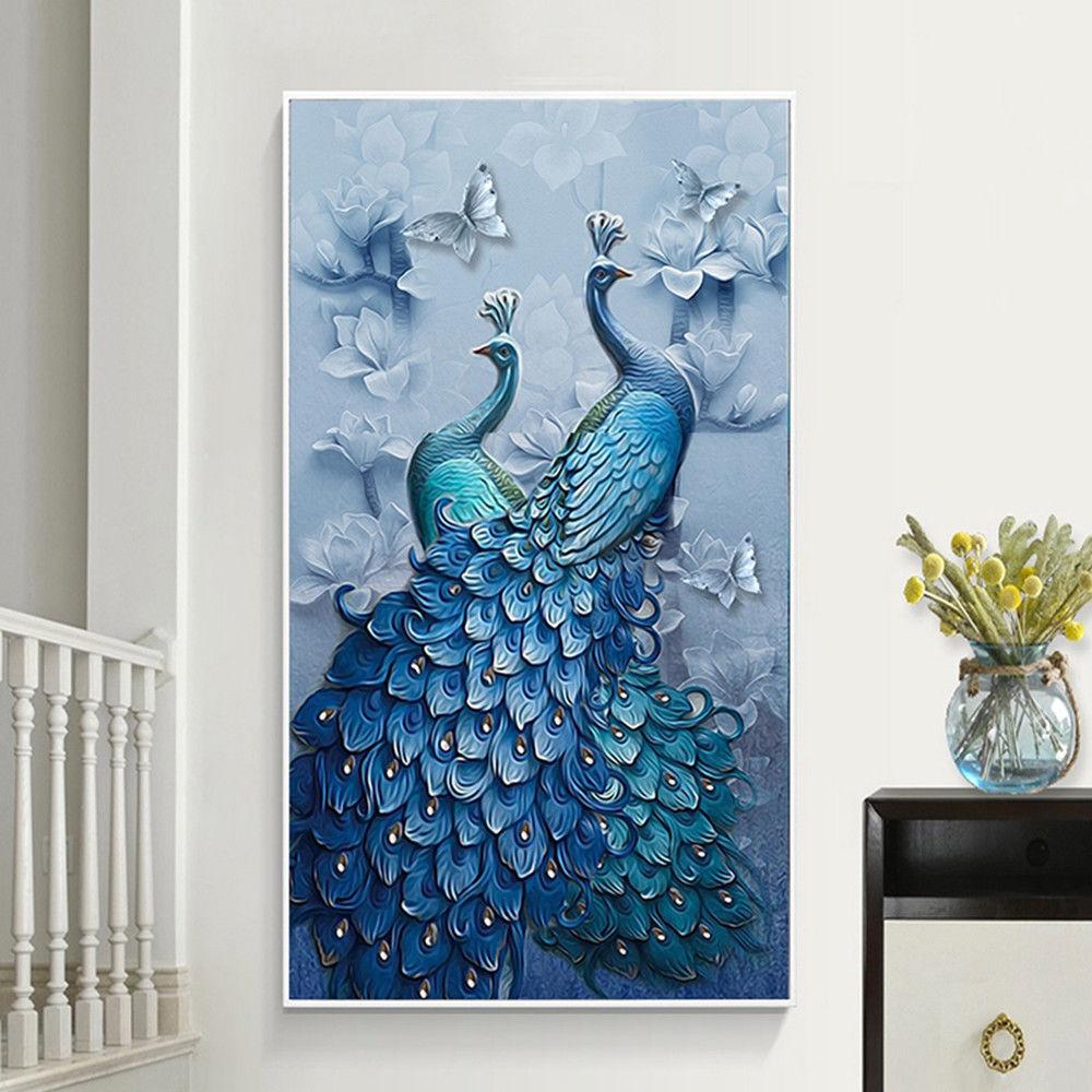 Peacock 5D Painting DIY Diamond Crafts Stitch Kit Home Embroidery Cross Decor
