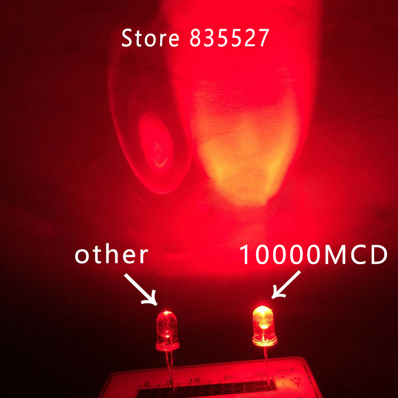 100pcs/lot 5mm 10000mcd Red LED Water Clear Round Head F5 Super Bright LED Light Emitting Diode Lamp Beads For DIY Lights