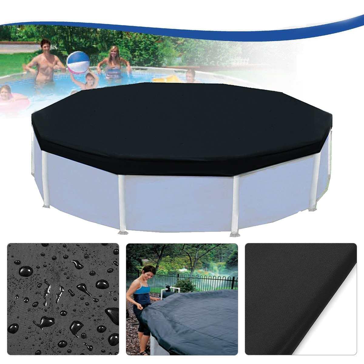 Couverture noire protectrice de piscine de 3.6 m 12 pieds pour le tissu de sol de tissu de Foor de piscines gonflables de cadre au-dessus du sol