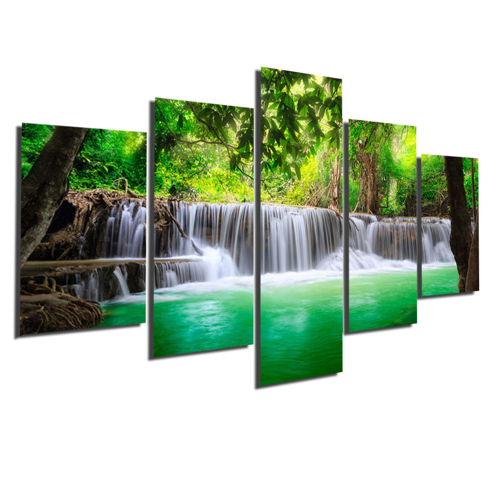 BANMU 5 Panel Air Terjun Lukisan Kanvas Gambar Seni Dinding Dekorasi - Dekorasi rumah - Foto 2