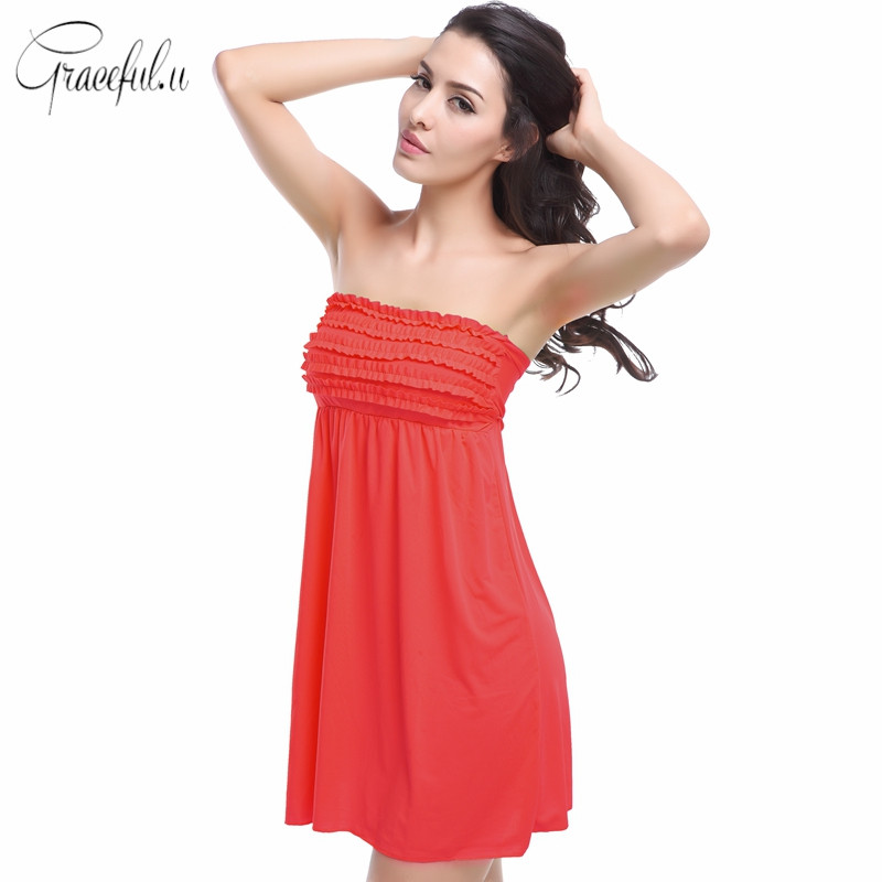 Vintage Swim Dress Part - 18: Summer Vintage Swimwear Beach Wrapped Chest Mini Skirt Top Bandaged Back  Swimming Strapless Dress With 10