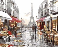 Frameless Diy Painting By Numbers Landscape Eiffel Tower Street Painting On Canvas Digital Oil Painting By