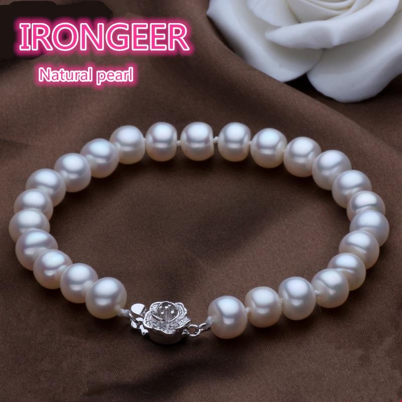 Name Brand Bracelets: 9 10mm High Quality Brand Name Genuine 100% Natural Pearl