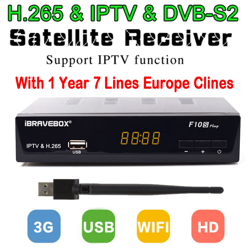 1 Year Clines Server F10S Satellite Receiver + Usb WiFi Spport DVB-S2 clines PowerVu YouTube Full 1080P HD SUPPORT IPTV