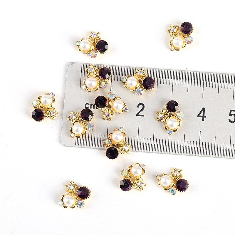 10PcsLot Glitter DIY Nail Art Rhinestones Decorations Flower